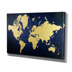 Golden Blue Map Graphic Art on Wrapped Canvas by Wexford Home