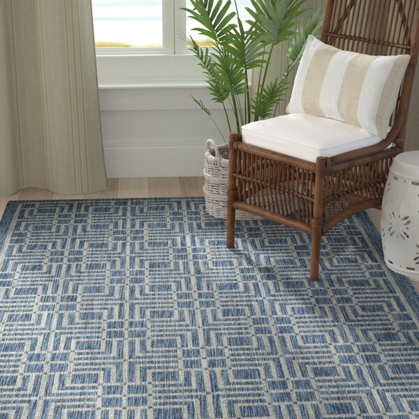Romola Navy/Grey Area Rug by Highland Dunes