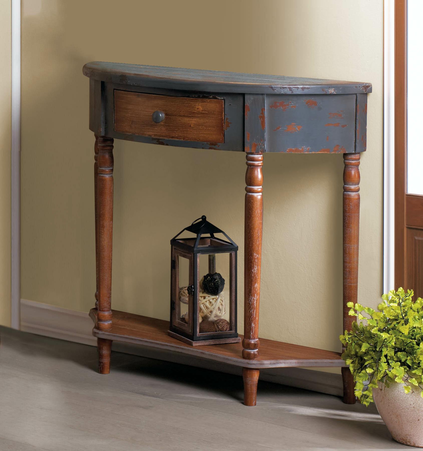 Wyble Wood Half Moon Console Table