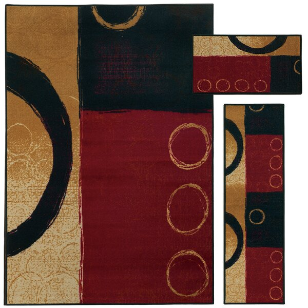 Westview 3 Piece Red/Black Area Rug Set by Threadbind