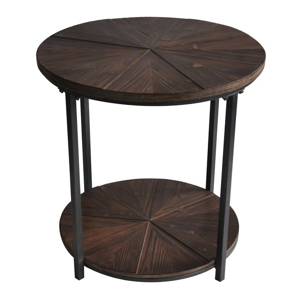 Gallien Round Metal And Rustic Wood End Table By Laurel Foundry Modern Farmhouse