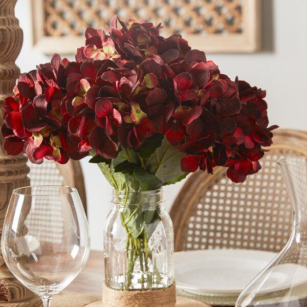 Sugarmill Hydrangea Bouquet in Rope Embellished Mason Jar by Beachcrest Home