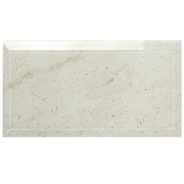 Nature 4 x 8 Beveled Glass Subway Tile in Crema Marfil by Abolos
