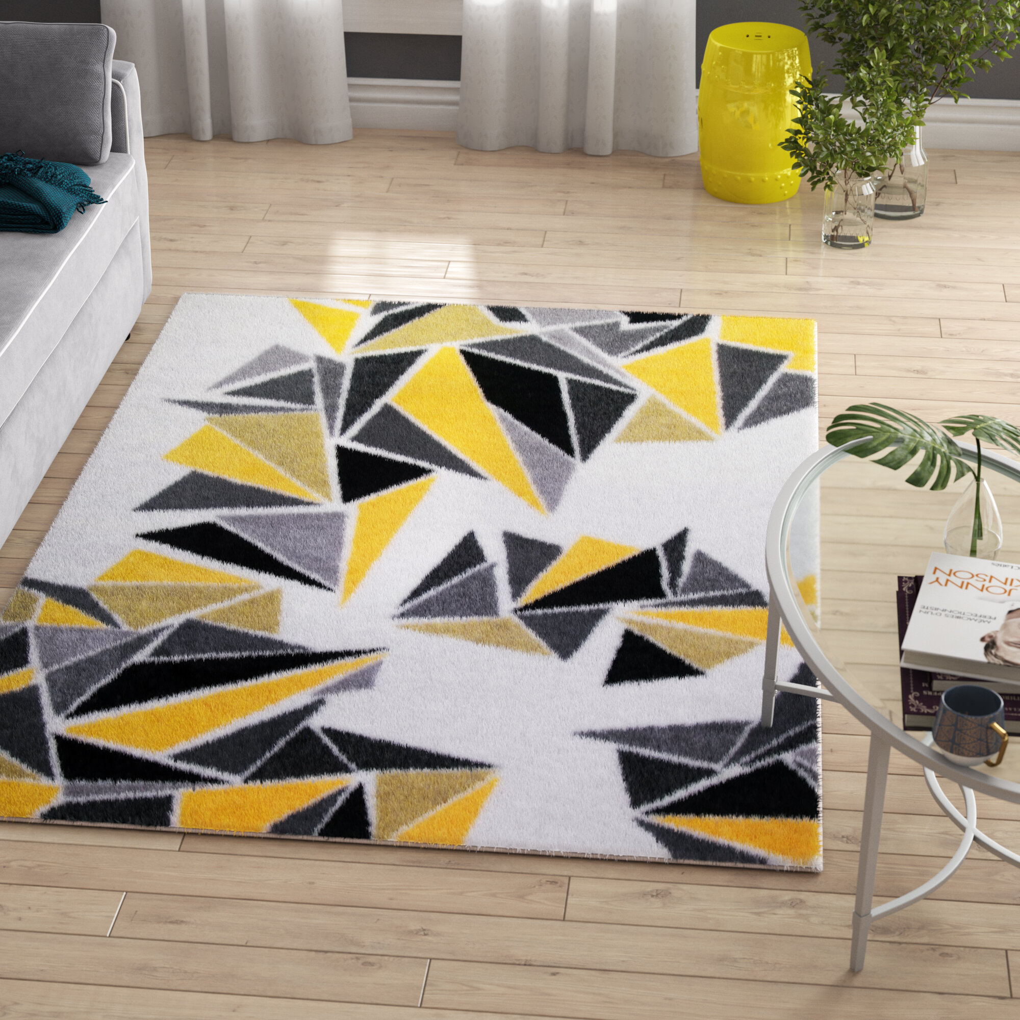 Zipcode Design Leitha Triangles Yellow
