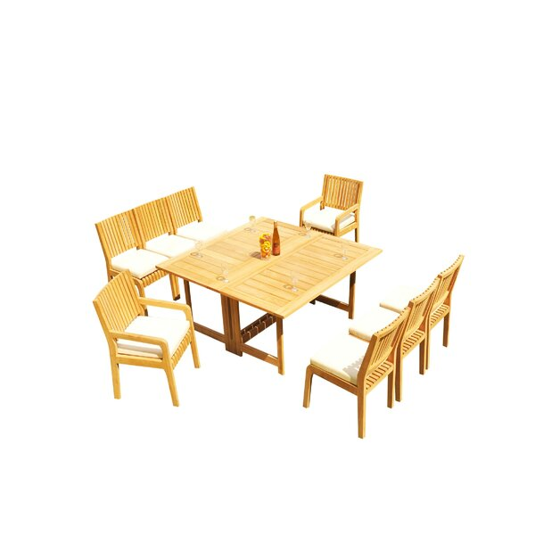 Mastin 9 Piece Teak Dining Set by Rosecliff Heights