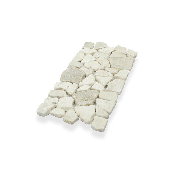 """Border Interlock Quartz Mix 6 x 11 3/4"""" Natural Stone Pebbles/Rocks Tile in Beige by Pebble Tile"""