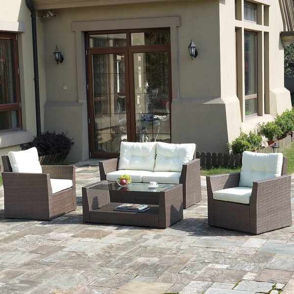 4 Piece Rattan Sofa Seating Group with Cushions by JB Patio