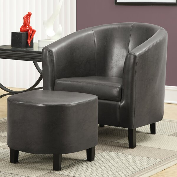 Barrel Chair and Ottoman by Monarch Specialties Inc.
