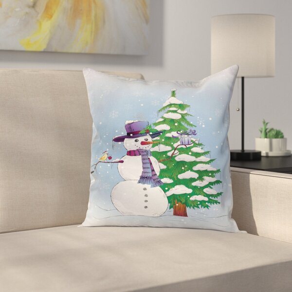 Christmas Snowman and Tree Square Pillow Cover by East Urban Home