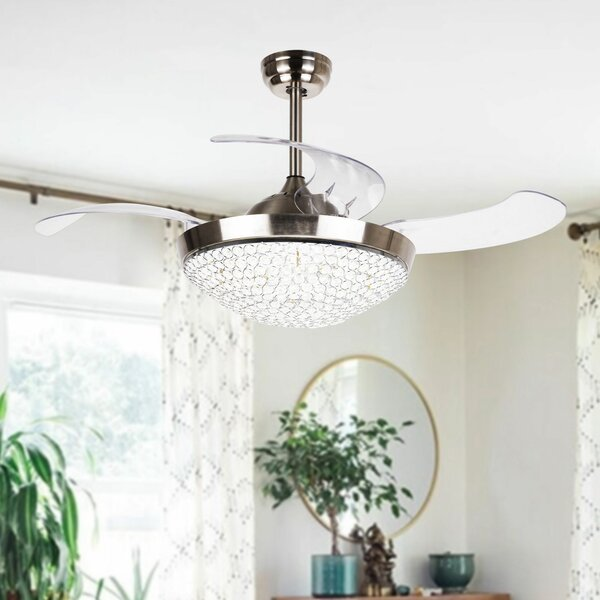 42.5 Brownesville 4 Blade LED Ceiling Fan with Remote by House of Hampton