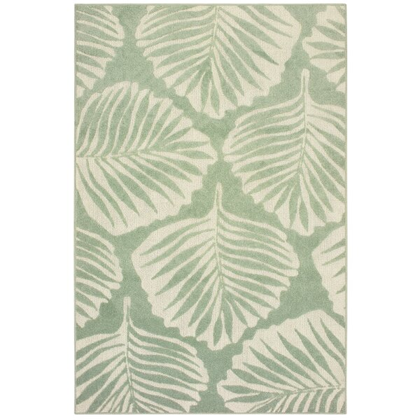 Harbin Tropical Leaf Green/Ivory Indoor/Outdoor Area Rug by Highland Dunes