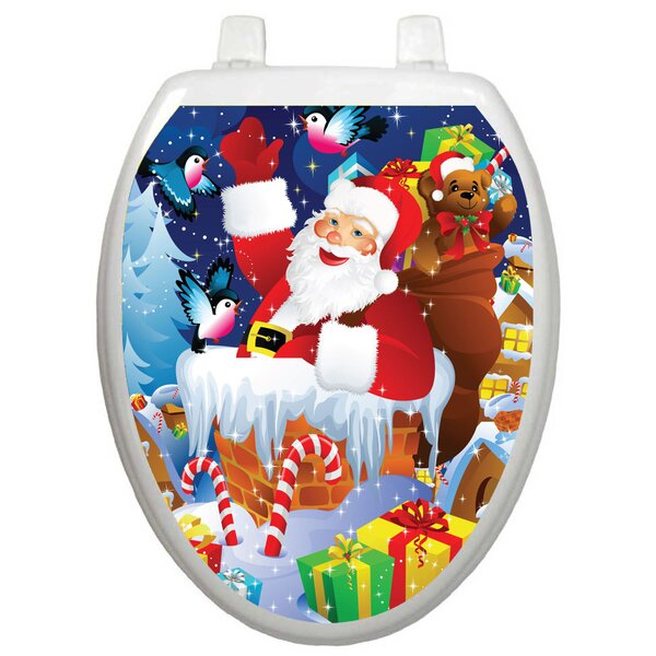 Holiday Santa In Chimney Toilet Seat Decal by Toilet Tattoos