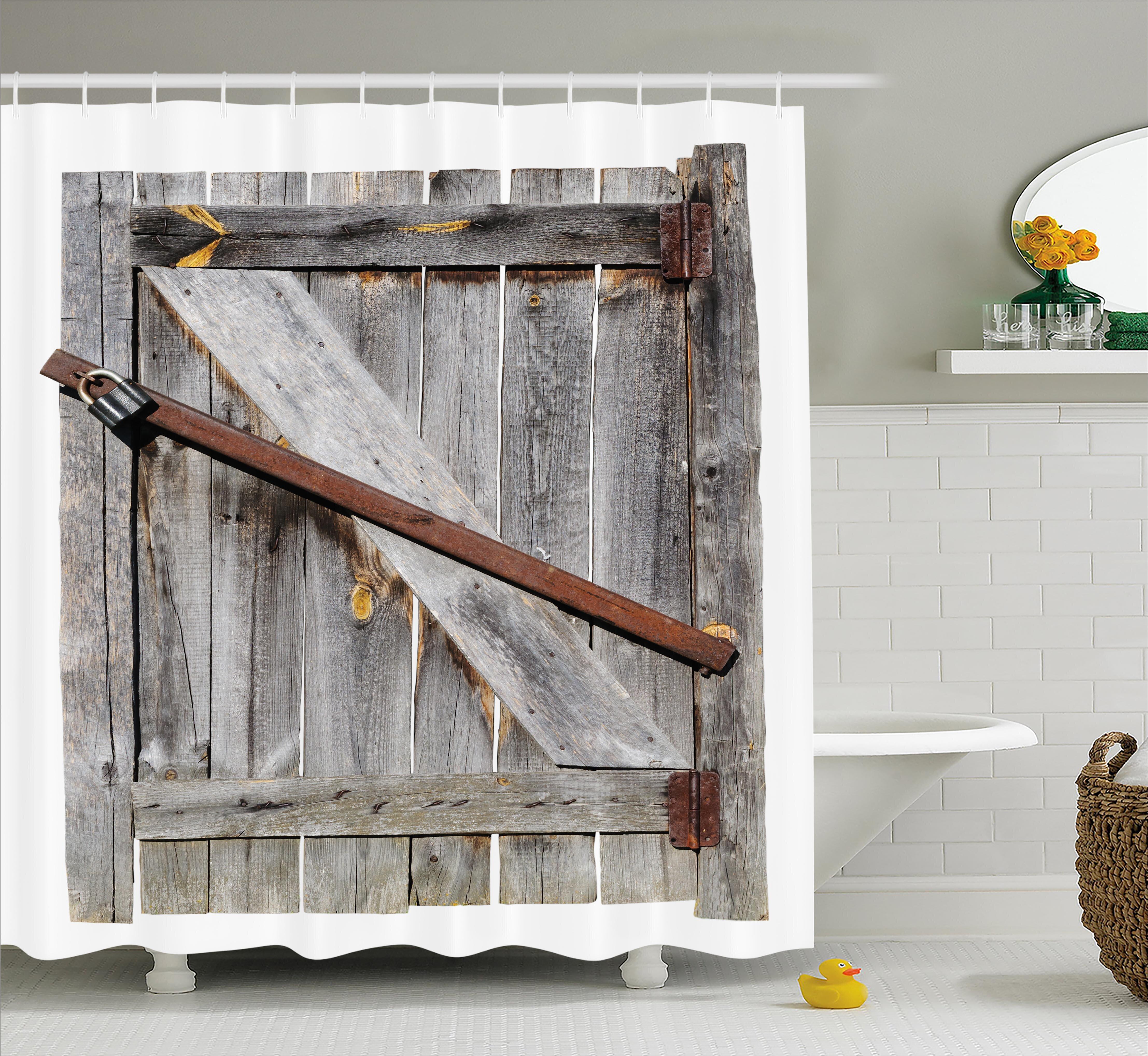 East Urban Home Rustic Aged Wooden Barn Door Single Shower Curtain | Wayfair