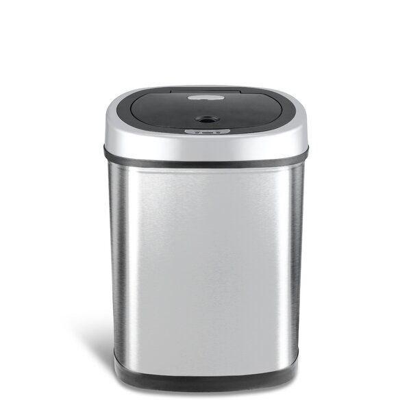 Stainless Steel 11.1 Gallon Motion Sensor Trash Can by Nine Stars