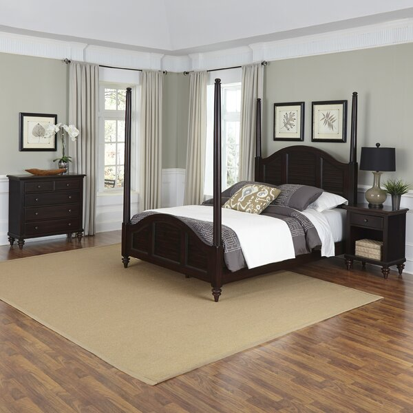 Harrison Four Poster Shutter 3 Piece Bedroom Set by Beachcrest Home