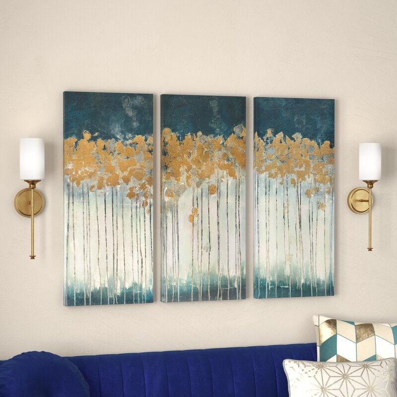 U0027Midnight Forestu0027 Gel Coat Canvas Wall Art With Gold Foil Embellishment 3  Piece. U0027