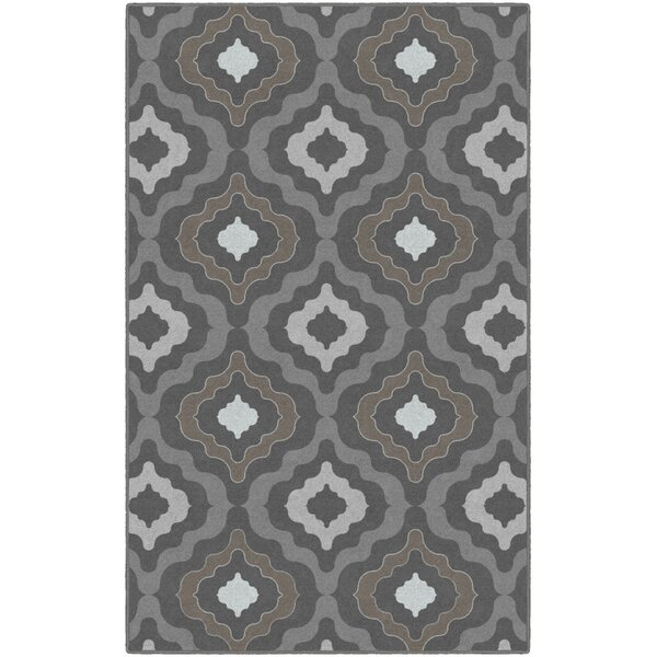 Flatt Modern Moroccan Trellis Gray/Brown Area Rug by Wrought Studio