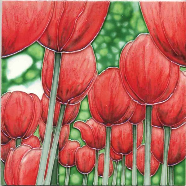 Red Tullip Field Tile Wall Decor by Continental Art Center