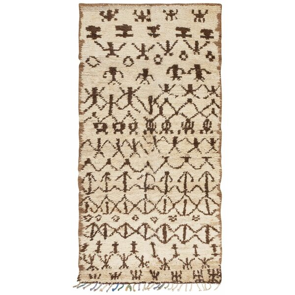 One-of-a-Kind Moroccan Hand-Knotted 1950s Moroccan Brown 5'6 x 10'2 Wool Area Rug