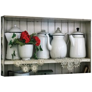 'Flower With Pots' Photographic Print on Wrapped Canvas by August Grove