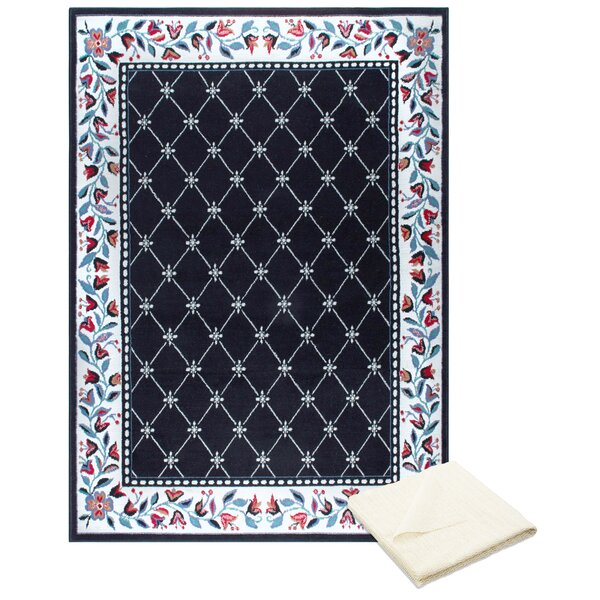 Ingham Classic Border Black/Cream Area Rug with Rug Pad by Charlton Home