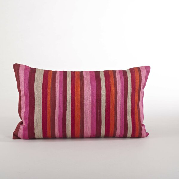 Particolored Striped Cotton Lumbar Throw Pillow by Saro