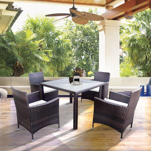 Dombrowski 5 Piece Dining Set with Cushions by Bay Isle Home