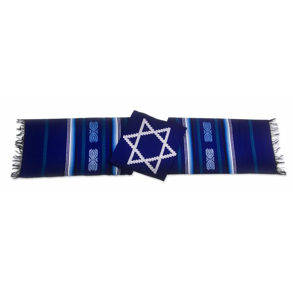 Star of David on Hand Loomed Cotton Table Runner by Novica