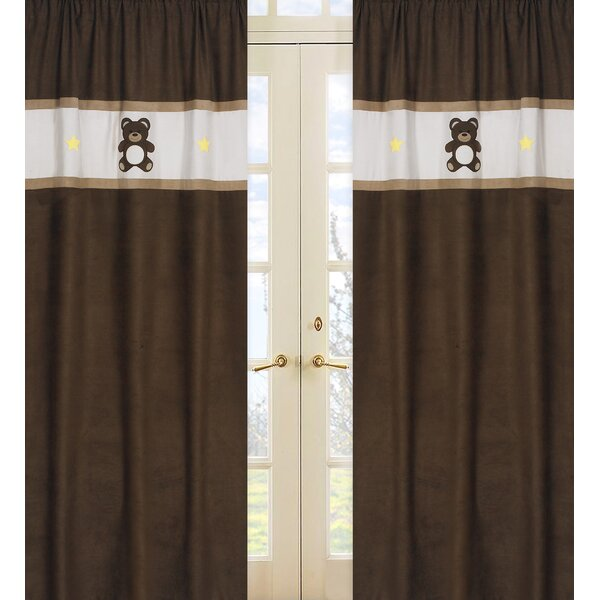Teddy Bear Graphic Print & Text Semi-Sheer Rod pocket Curtain Panels (Set of 2) by Sweet Jojo Designs
