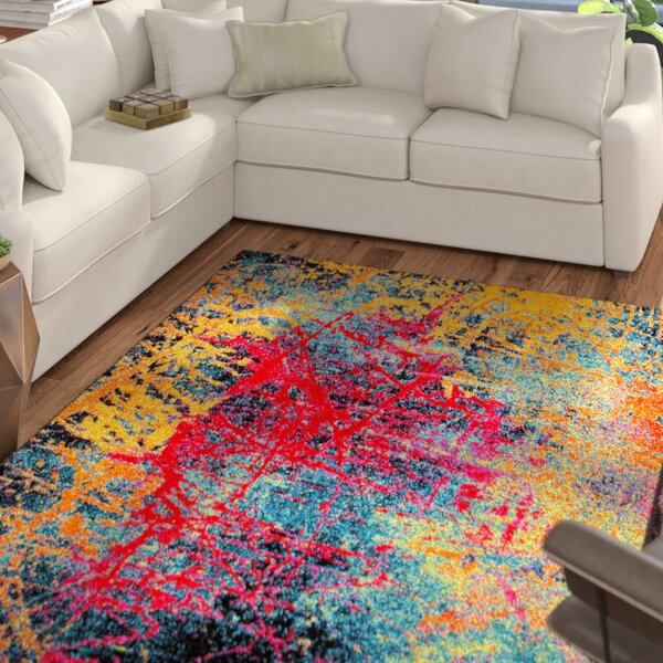 Brannigan Red / Yellow Area Rug by Mercury Row
