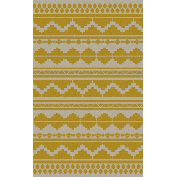 Charleville Gold Geometric Exquisite Area Rug by Loon Peak