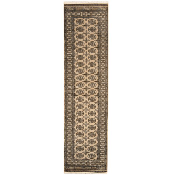 Bokhara Hand-Knotted Beige/Black Area Rug by Herat Oriental