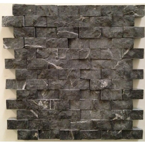 1 x 2 Marble Splitface Tile in Taurus Black by Ephesus Stones