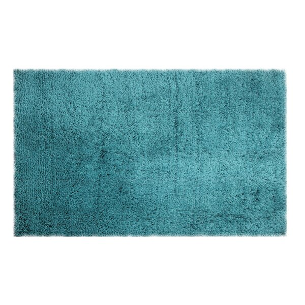 Hayfield Hand-Woven Shag Teal Area Rug by Wrought Studio