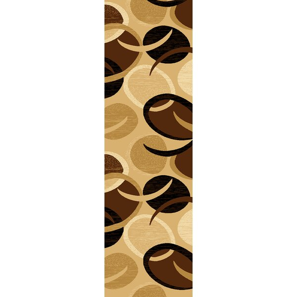 Mccampbell 3D Modern Contemporary Abstract Chocolate/Beige Area Rug by Ivy Bronx