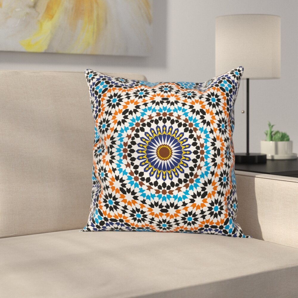 East Urban Home Vintage Moroccan Ceramic Tile Square Pillow Cover