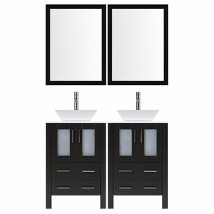 Best Reviews Modern 36 Double Bathroom Vanity Set with Mirror By LessCare