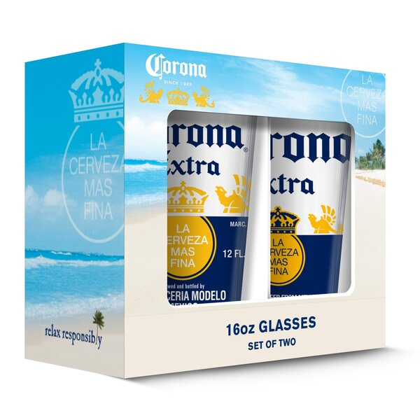 Corona Extra Caps Pub 16 oz. Pint Glasses (Set of 2) by PB