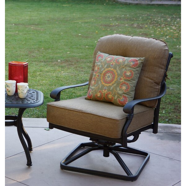 Windley Swivel Recliner Patio Chair with Cushions (Set of 4) by Fleur De Lis Living