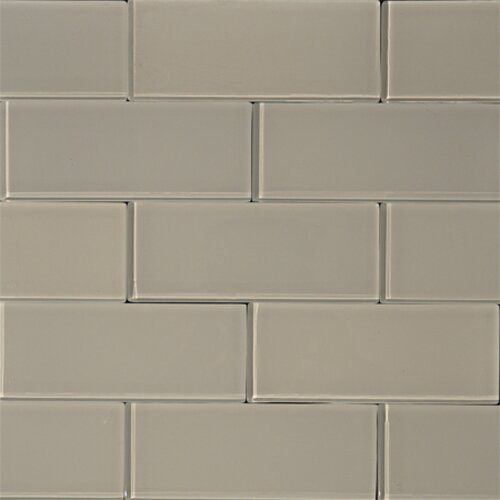 3 x 8 Glass Subway Tile in Mist by The Bella Collection
