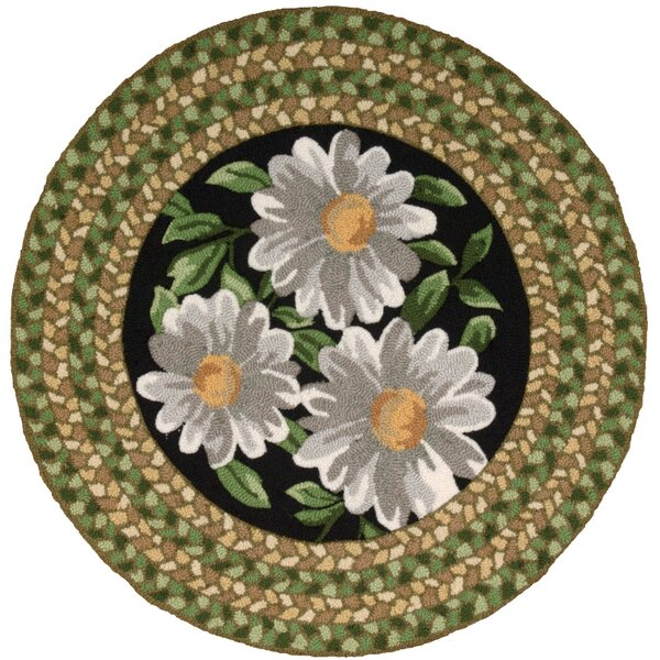 Chatelaine Hand-Tufted Black/Green Area Rug by August Grove