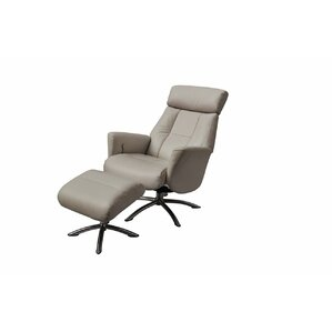 Mcclanahan Leather Manual No Motion Recliner with Ottoman by Orren Ellis