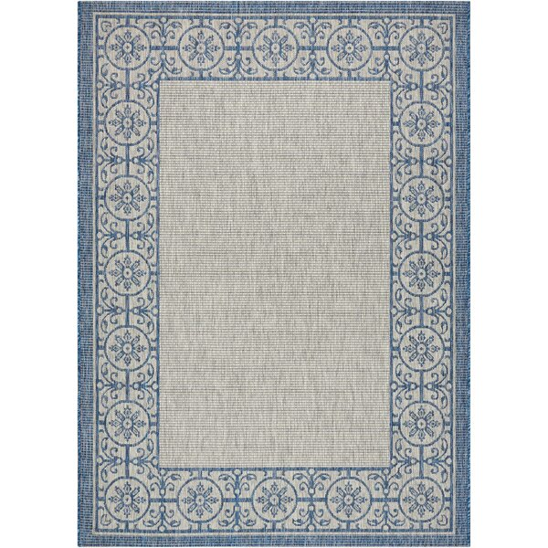 Cochrane Ivory/Blue Indoor/Outdoor Area Rug by Charlton Home