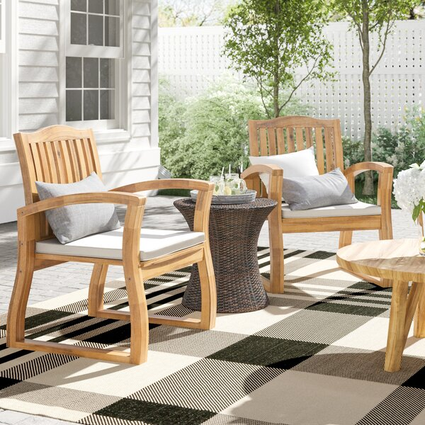 Erondelle Teak 3 Piece Rattan Seating Group with Cushions by Laurel Foundry Modern Farmhouse