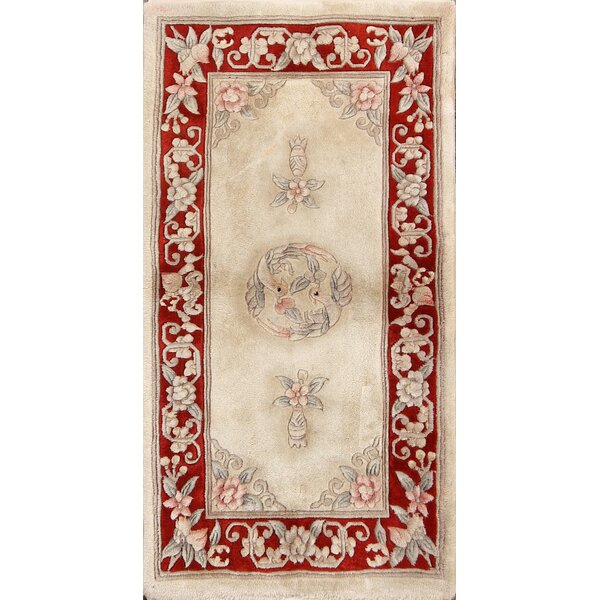 Eliza Art Deco Nichols Chinese Traditional Oriental Hand-Knotted Wool Beige/Red Area Rug by Bloomsbury Market