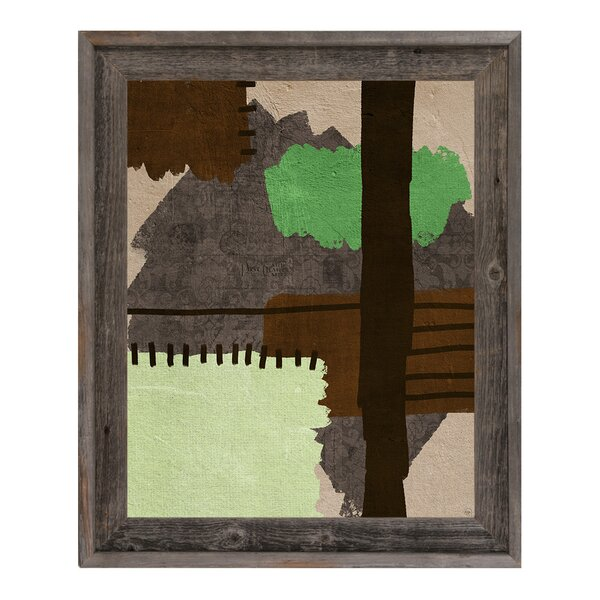 Patchwork Times Green Framed Painting Print on Canvas by Click Wall Art