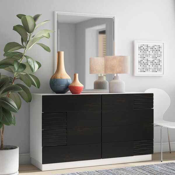 Bernice 8 Drawer Double Dresser with Mirror by Wrought Studio