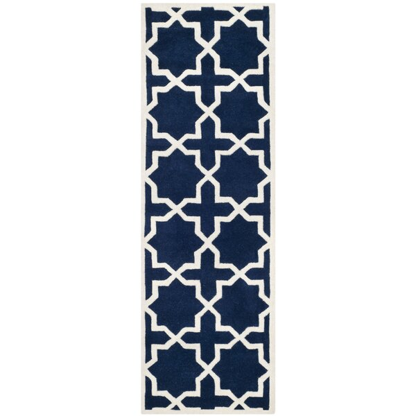 Wilkin Hand-Tufted Wool Dark Blue/Ivory Area Rug by Wrought Studio