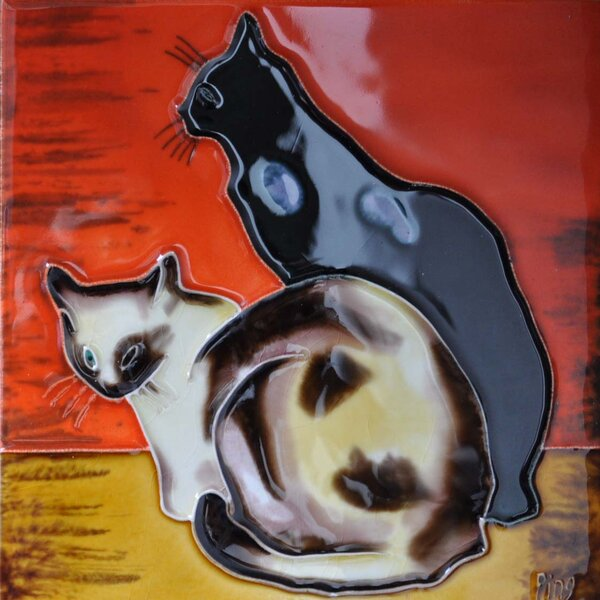 2 Cats With Orange Background Tile Wall Decor by Continental Art Center