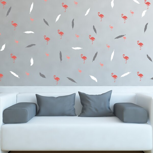 Surles Flamingo Plumes 118.2 L x 59.1 W Self Adhesive Wallpaper Tile by Wrought Studio